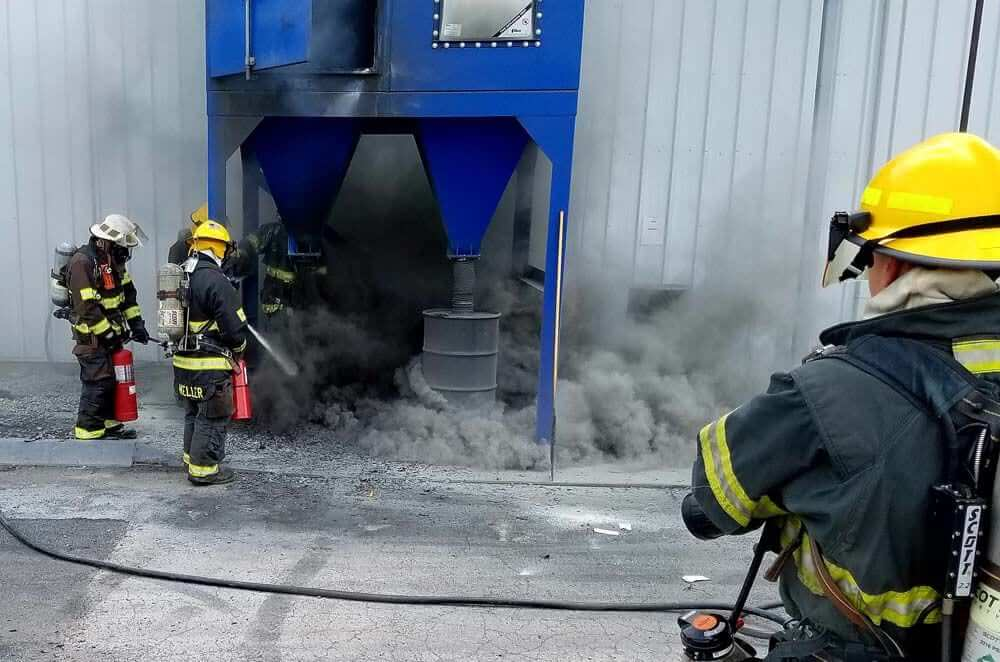 Dust Collector fire from Improper Use with aluminum dust
